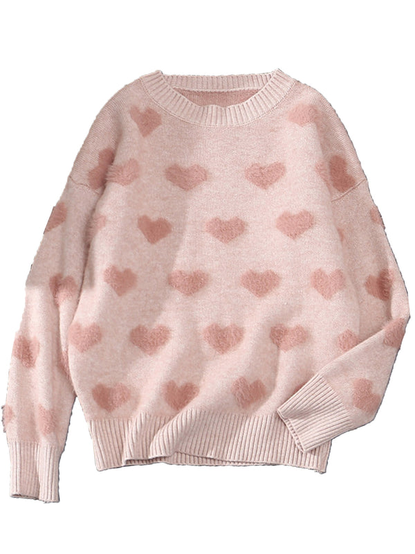 'Valentine' Heart Pattern Sweater (3 Colors)