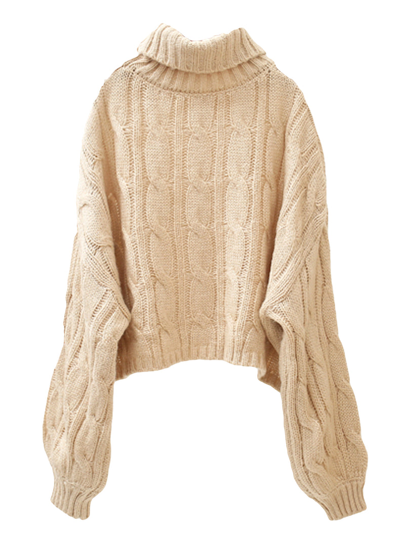 'Lucy' Turtleneck Cable Knit Cropped Sweater (3 Colors)