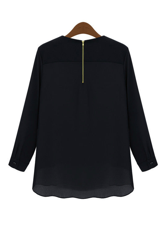 Black Raglan Chiffon Jersey Blouse - Goodnight Macaroon