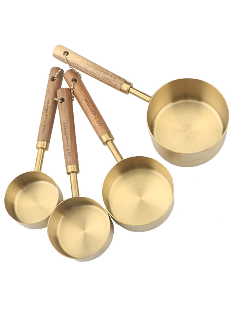 Wooden Handle Gold Plated Measuring Cups / Spoons