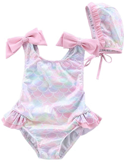 'Madeline' Baby Mermaid Swimsuit with Swimming Cap (3 Colors)