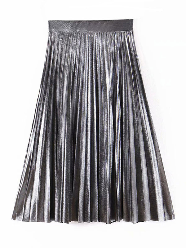 'Blair' Metallic Pleated Skirt