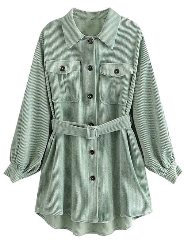 'Kathy' Corduroy Belted Long Shirt (2 Colors)