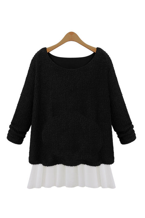 Black Knitted Sweater with Mock Layer - Goodnight Macaroon