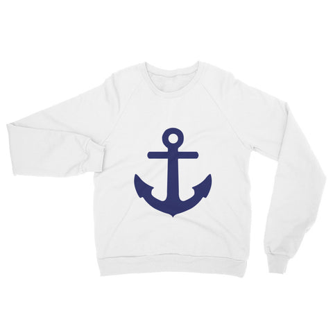 American Apparel x Goodnight Macaroon 'Blue Anchor' White Raglan Sweater