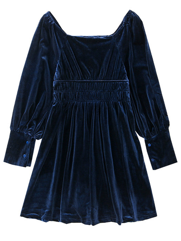 'Shontelle' Square Neck Velvet Mini Dress (2 Colors)