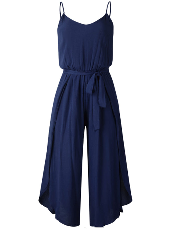 'Norah' V-neck Waist Tie Wide Leg Open Slit Jumpsuit (5 Colors)