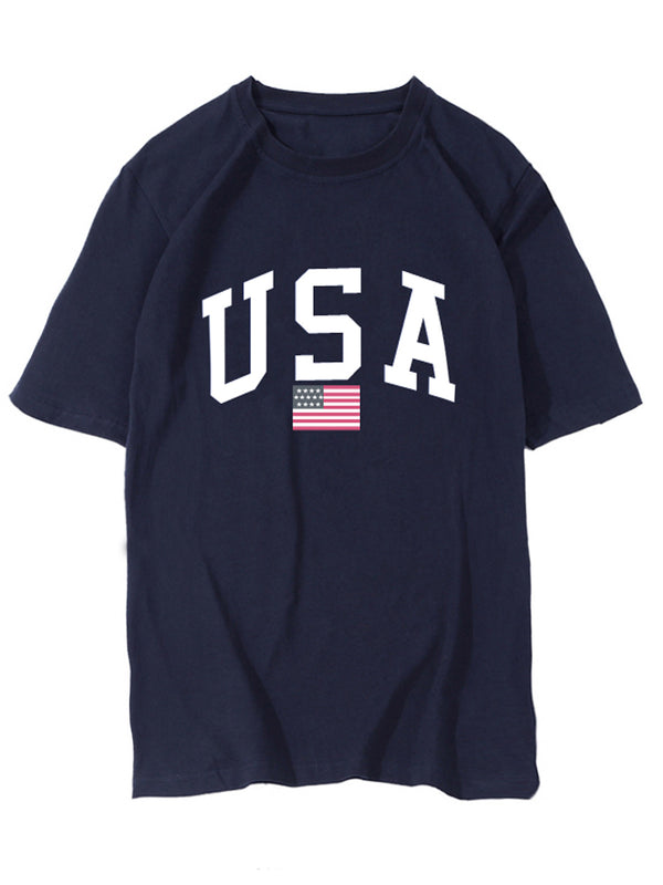 'USA'  100% Cotton Crewneck T-shirt (5 Colors)