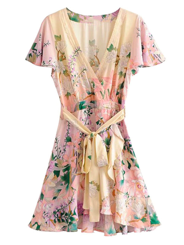 'Noona' V-Neck Floral Tied Waist Mini Dress