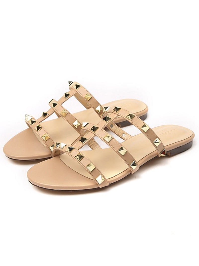 'Nicole' Studded Flat Sandals (2 Colors)