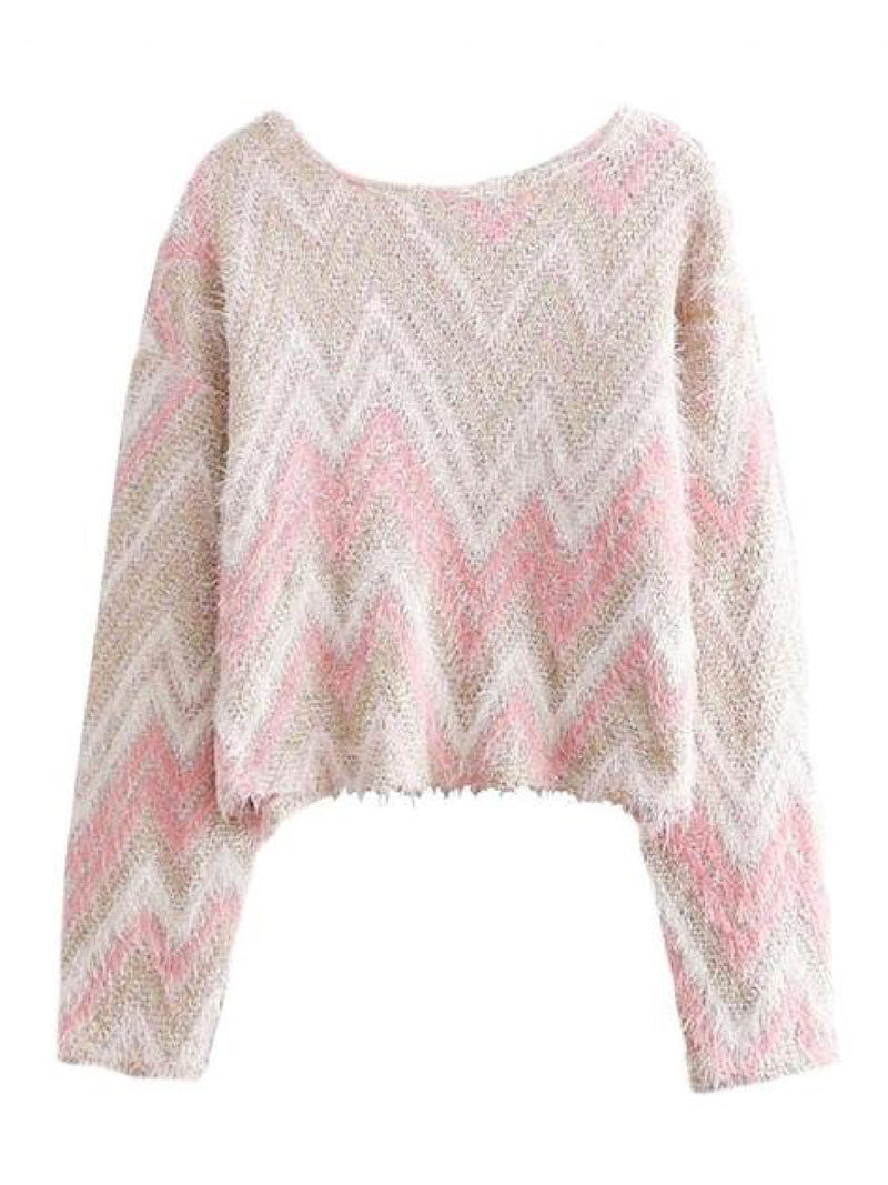 'Oakley' Wave Pattern Boat Neck Fuzzy Sweater