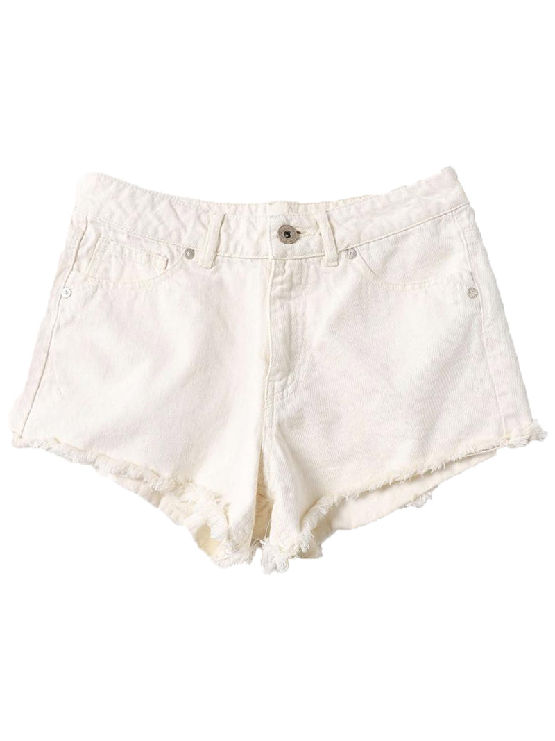 'Vivian' Printed Pockets Distressed Off-white  Denim Shorts