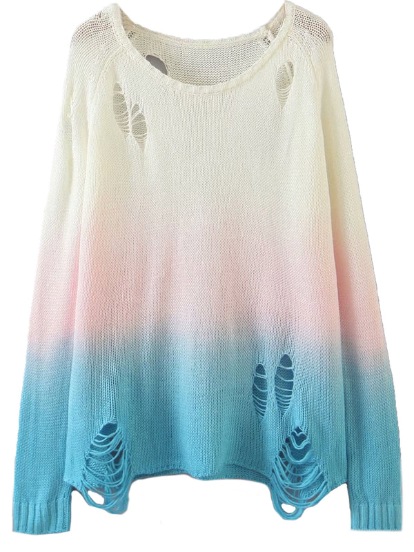 'Meaghan' Ombre Distressed Sweater