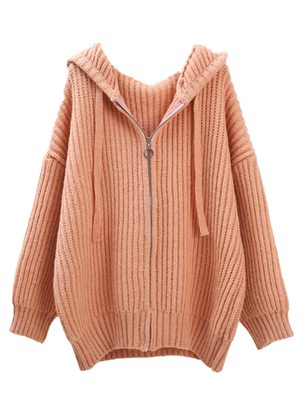 'Kubi' Hooded Ribbed Zip Up Oversized Cardigan (3 Colors)