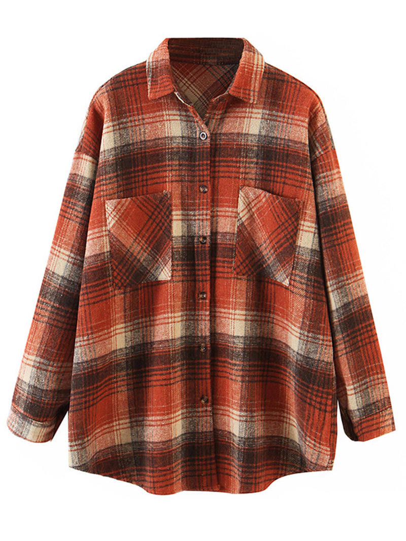 'Gemma' Pocket Loose Fit Plaid Shirt (2 Colors)