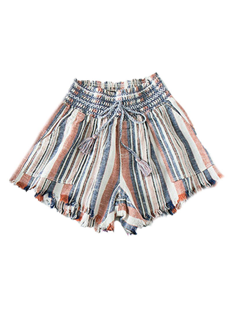 'Katy' Fringe Hem Braided Waist Tie Shorts (4 Colors)