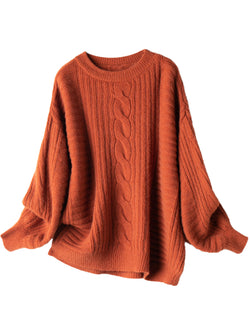 'Fabia' Crewneck Cable Knit & Ribbed Sweater (3 Colors)