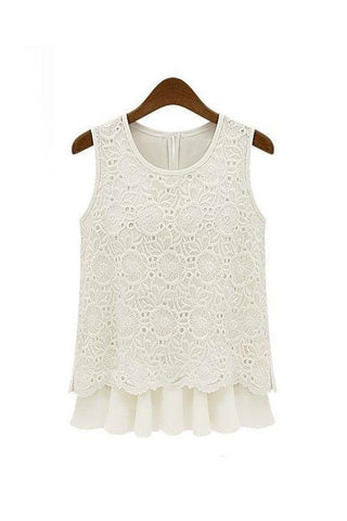 Palermo Sleeveless Crochet Lace Mesh Mock Layer Blouse - Goodnight Macaroon