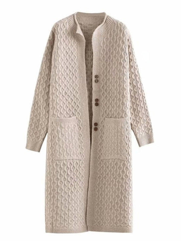 'Bessie' Pattern Knitted Long Cardigan with Buttons (5 Colors)