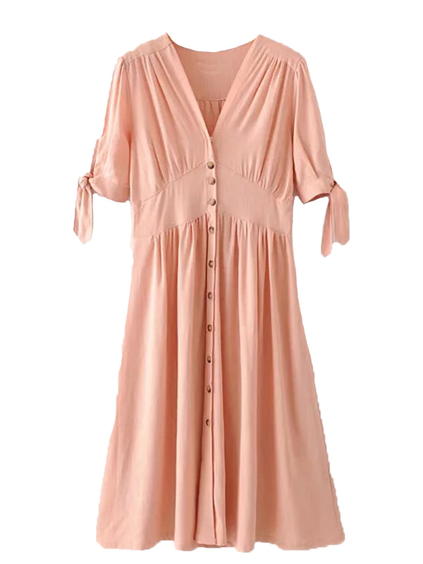 'Hillary' V Neck Button Down Tie Sleeve Midi Dress (3 Colors)
