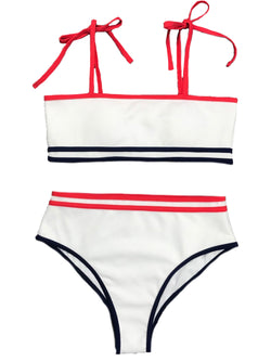 'Peyton' Ribbed Blue & Red Piping Bikini