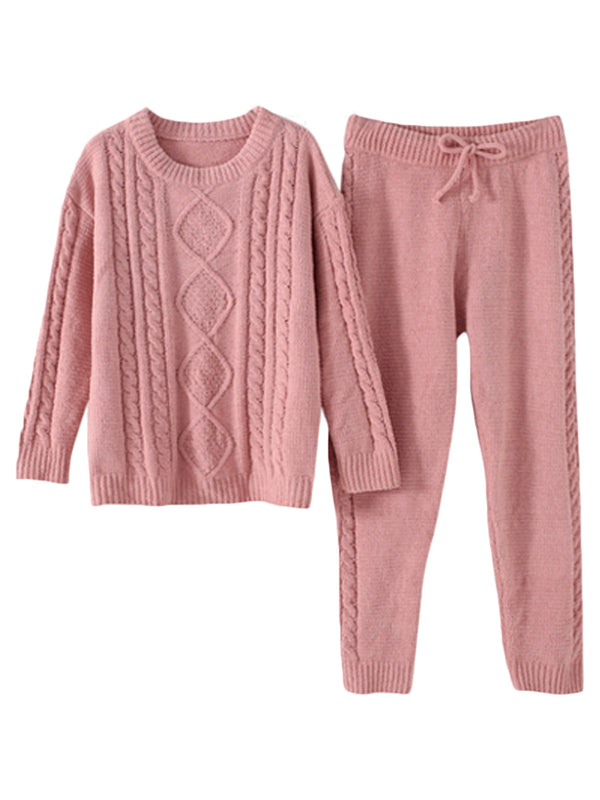 'Frances' Cable Knit Super Soft PJ Set (2 Colors)