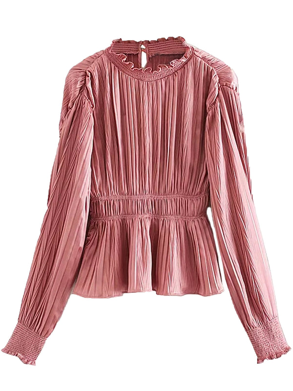 'Oaklyn' High Neck Pleated Silky Long Sleeve Blouse