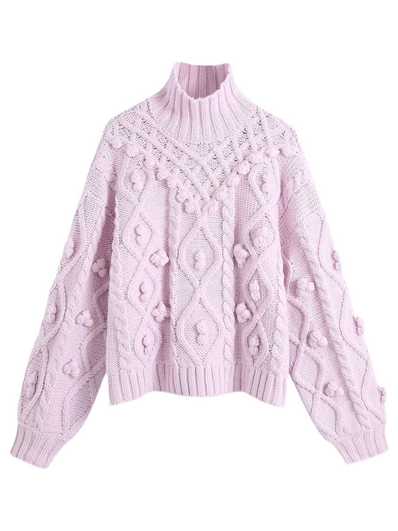 'Sylvie' Pink Mock Neck Pom Pom Cable Knit Sweater