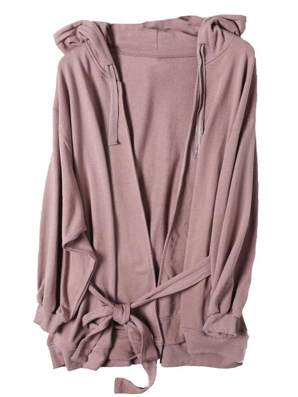 'Paityn' Waist Tie Hooded Open Cardigan (2 Colors)