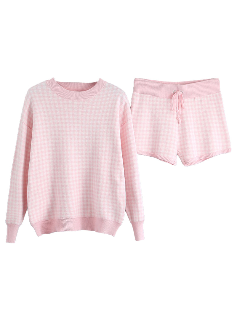 'Everly' Checked Knitted Sweater and Shorts Set (3 Colors)