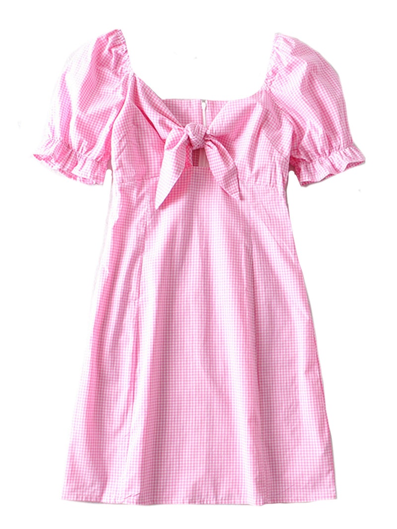 'Alexa' Gingham Front Bow Dress (5 Colors)