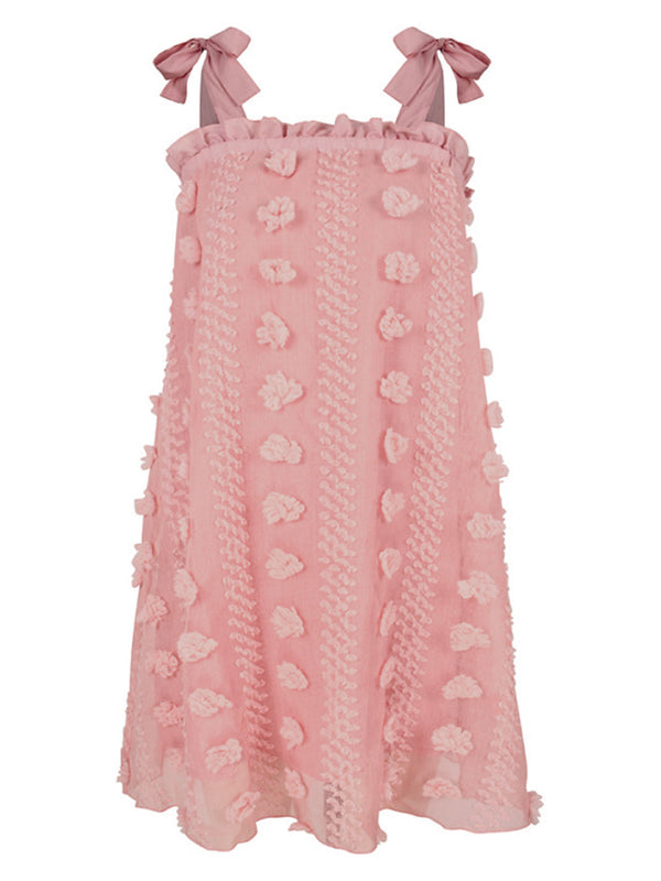 'Nancy' Pom Pom Tie Strap Mini Dress (2 Colors)