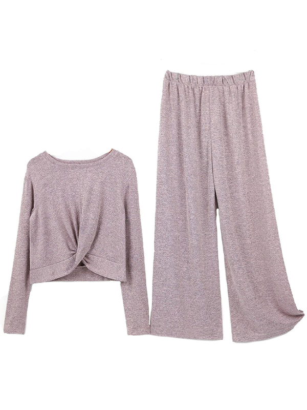 'Sandra' Knotted Front Top and Long Pants Lounge Set (3 Colors)