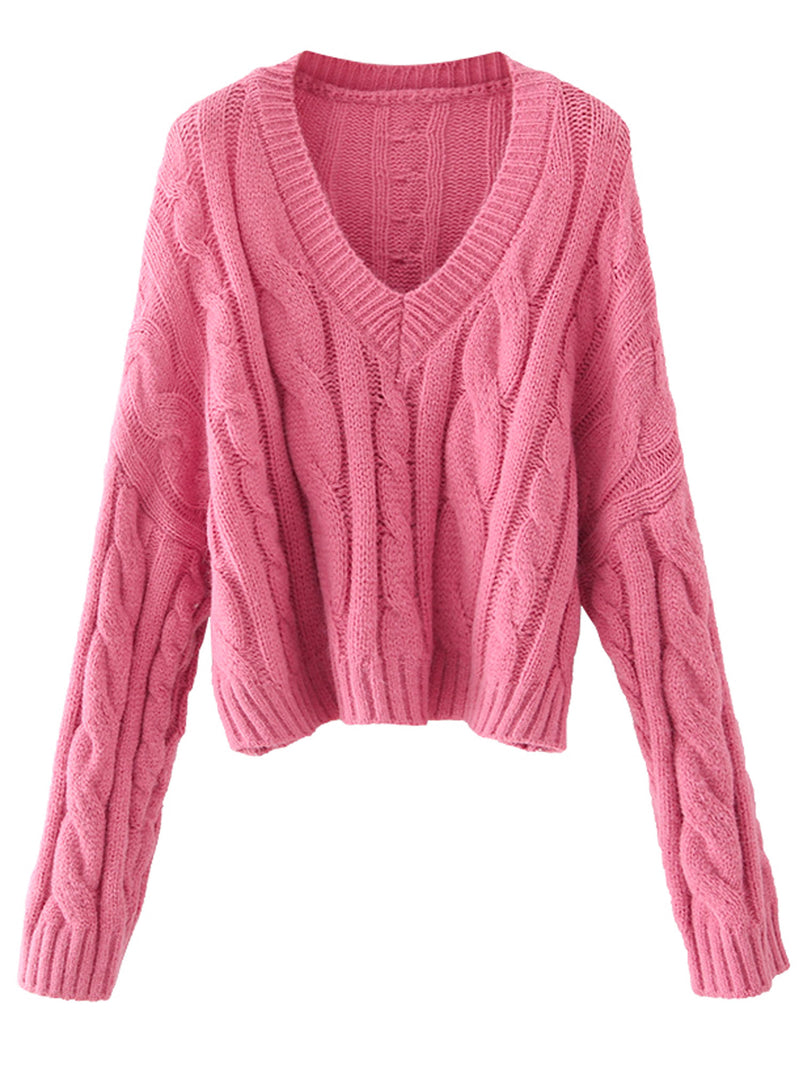'Taylor' V-neck Cable Knit Sweater (2 Colors)