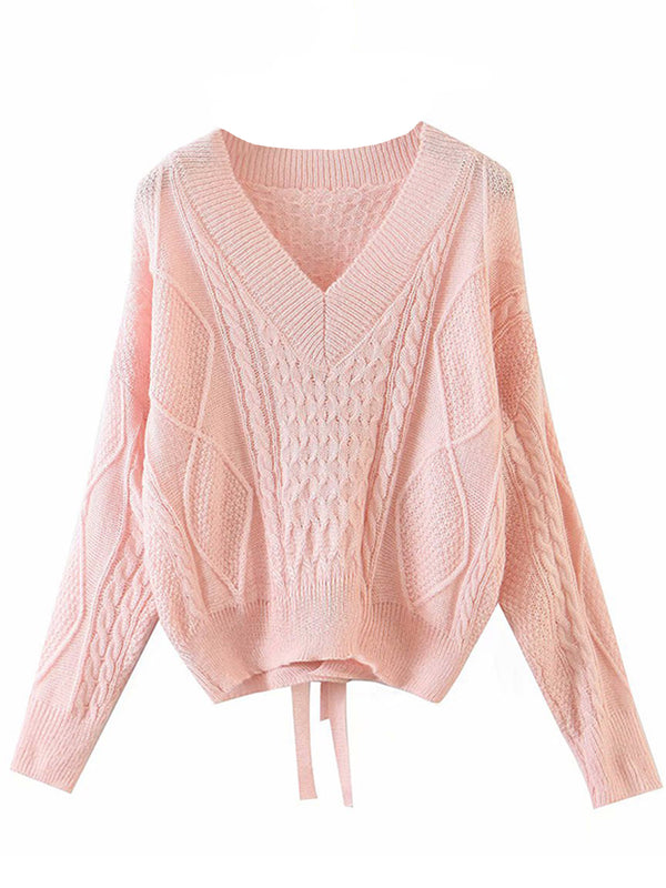 'Kaylee' Cable Knit V-neck Tie Back Sweater (4 Colors)