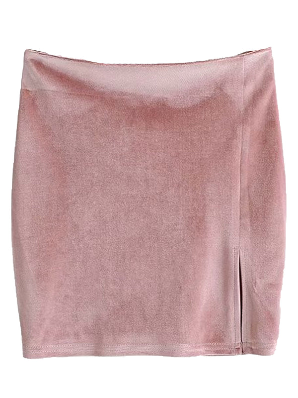 'Lele' Velvet Mini Skirt with Slit (3 Colors)
