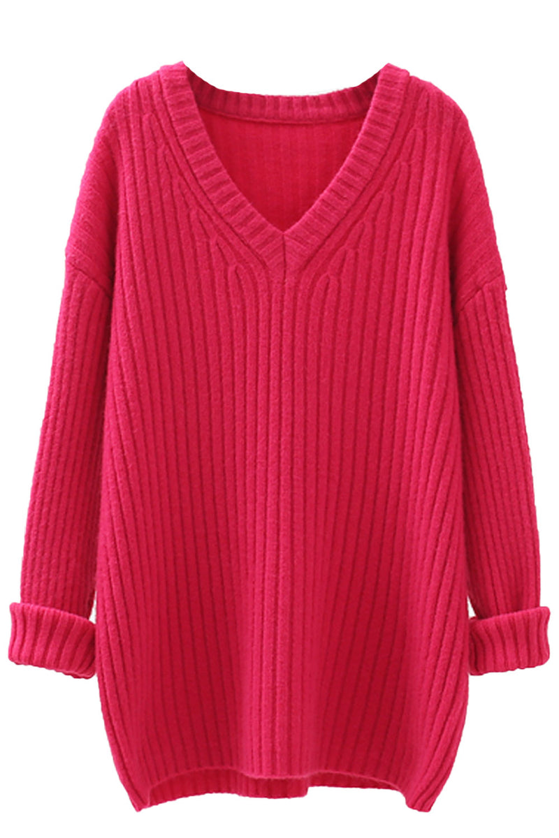'Lillian' V-neck Ribbed Knit Long Sweater (3 Colors)