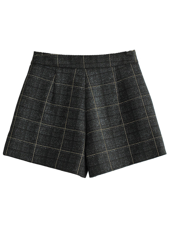 'Jessica' Check Pattern Wool Shorts