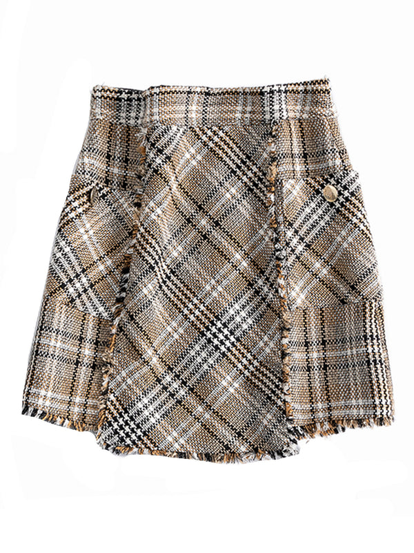 'Janelle' Neutral Tweed Plaid Mini Skirt