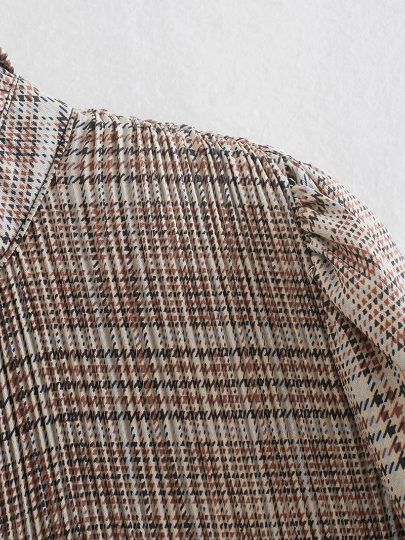 'Jinny' Plaid Pleated Blouse with Bow