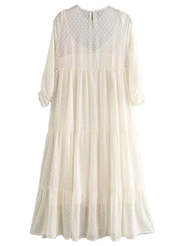 'Zara' Polka Dot Cream Sheer Maxi Dress
