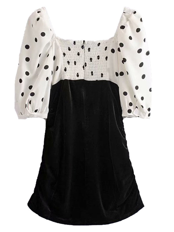 'Linda' Polka Dot Velvet Ruched Mini Dress