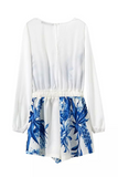 'Gabrielle' Blue Floral Printed Wrap Front White Playsuit