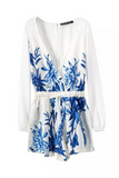 'Gabrielle' Blue Floral Printed Wrap Front White Playsuit - Goodnight Macaroon