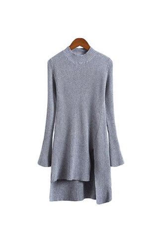 'Evelynn' Ribbed High-Low Oversize Pullover Gray from Goodnight Macaroon