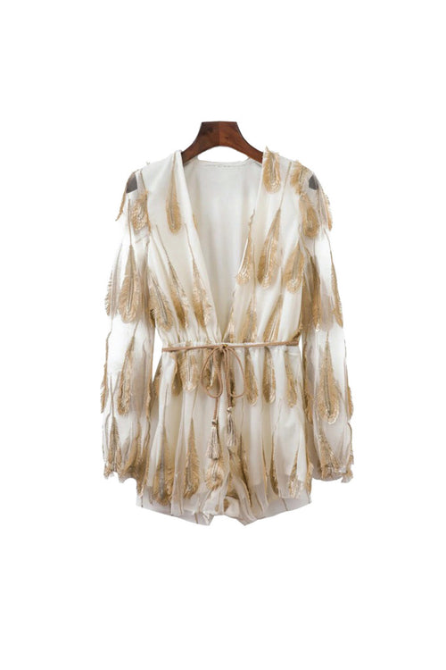 'Hera' Feather Detail Romper White from Goodnight Macaroon