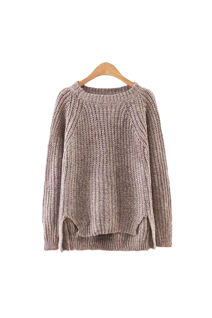 'Edita' Ribbed Knitted High Low Sweater Coffee from Goodnight Macaroon