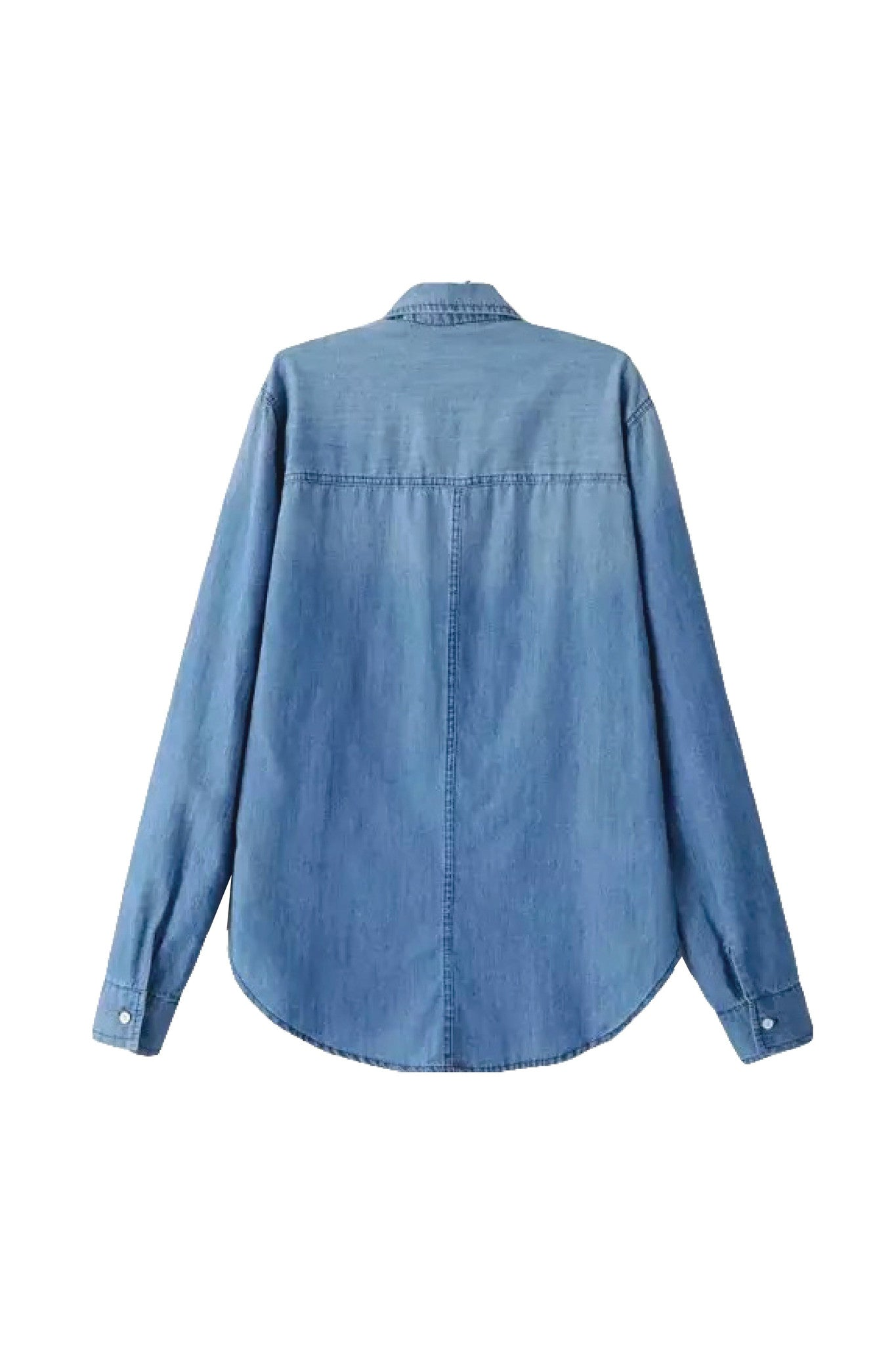 'Arizona' Slim Looking Blue Denim Button Up Long Sleeve Shirt Back from Goodnight Macaroon