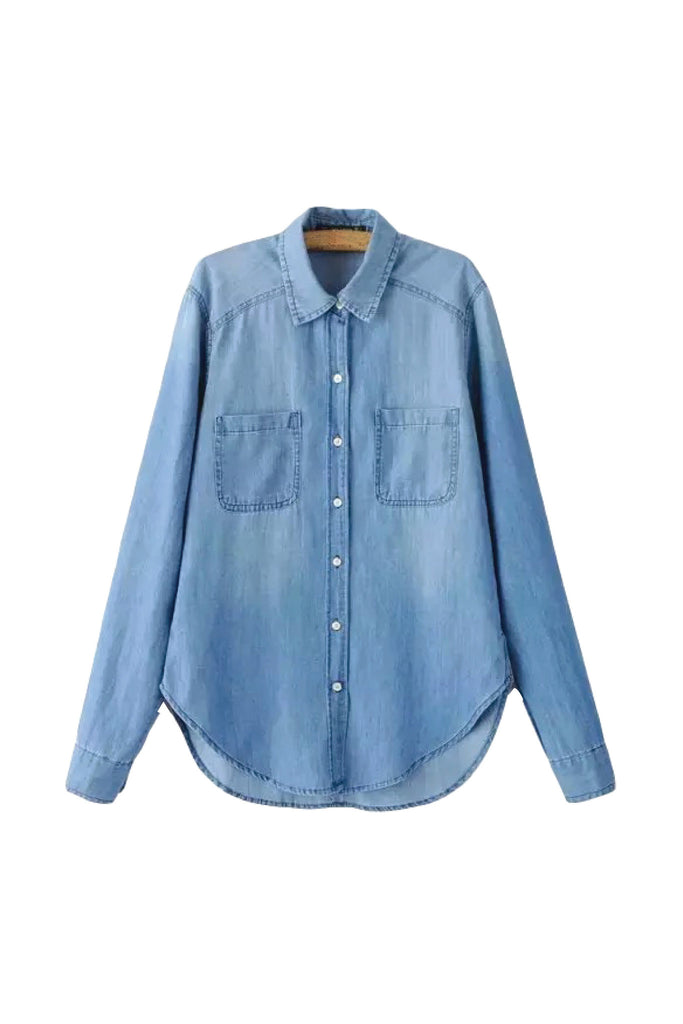 'Arizona' Slim Looking Blue Denim Button Up Long Sleeve Shirt Front from Goodnight Macaroon