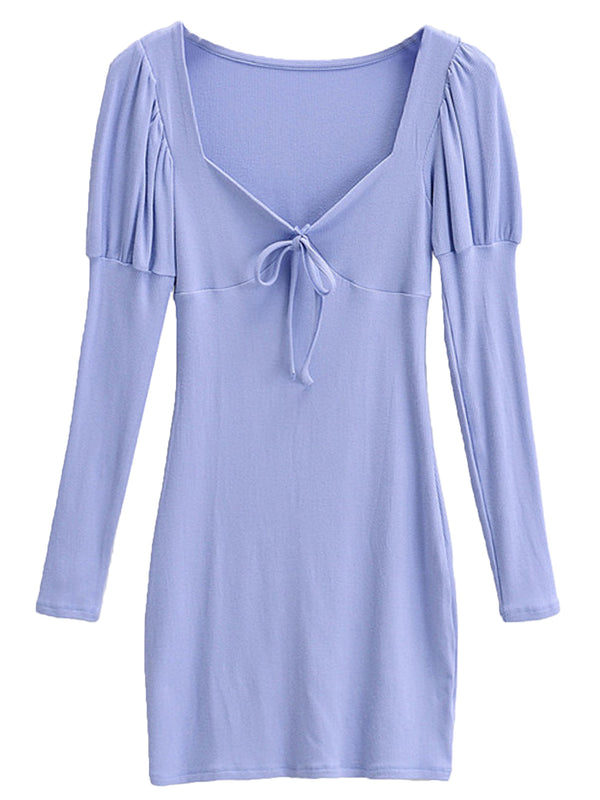 'Fiona' Ribbon Puff Sleeve Fitted Mini Dress (4 Colors)
